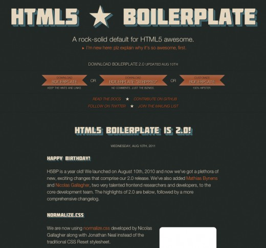 HTML5 Boilerplate Screenshot